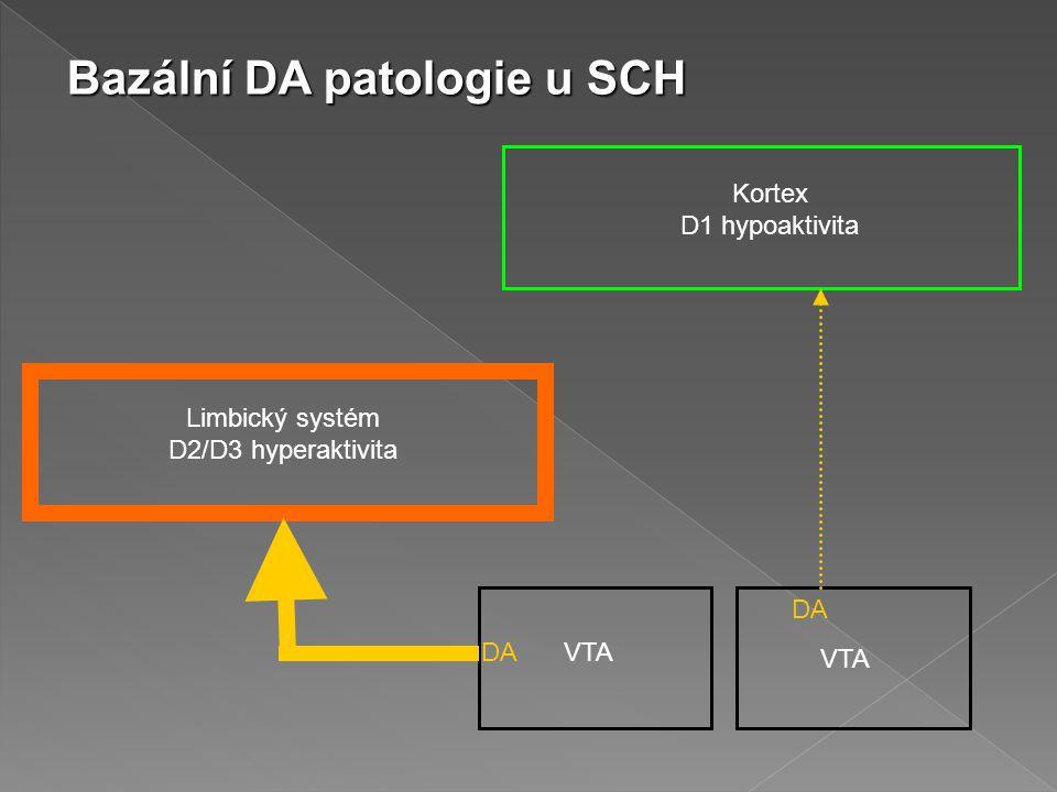 Kortex D1 hypoaktivita Limbický systém D2/D3 hyperaktivita DA VTA Bazální DA patologie u SCH