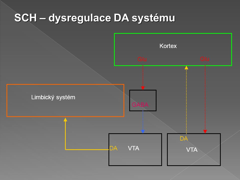 Kortex Limbický systém Glu GABA DA VTA SCH – dysregulace DA systému