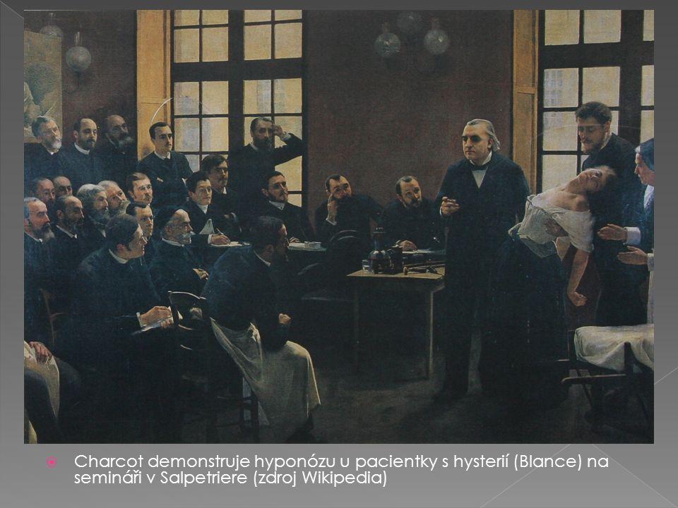  Charcot demonstruje hyponózu u pacientky s hysterií (Blance) na semináři v Salpetriere (zdroj Wikipedia)