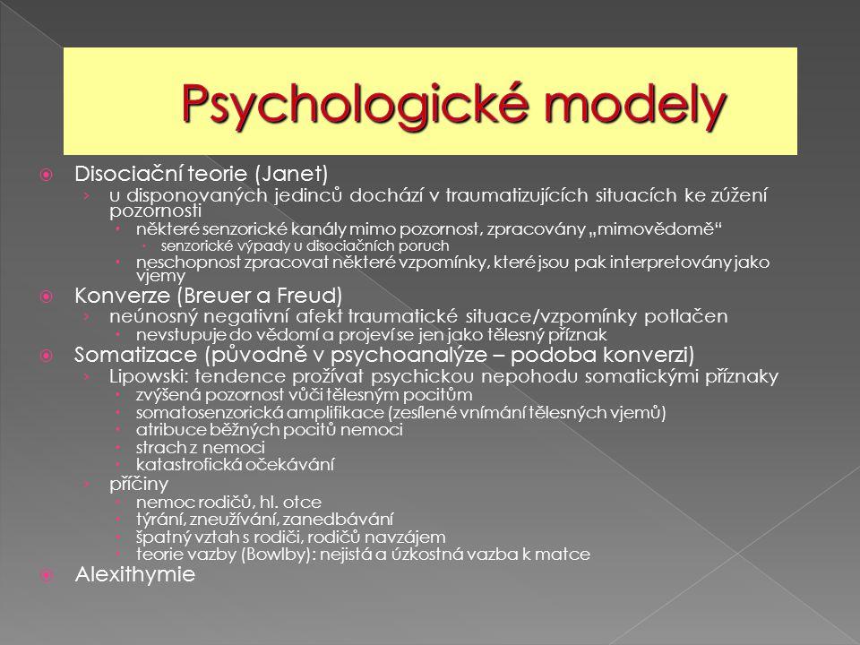  Disociační teorie (Janet) › u disponovaných jedinců dochází v traumatizujících situacích ke zúžení pozornosti  některé senzorické kanály mimo pozor