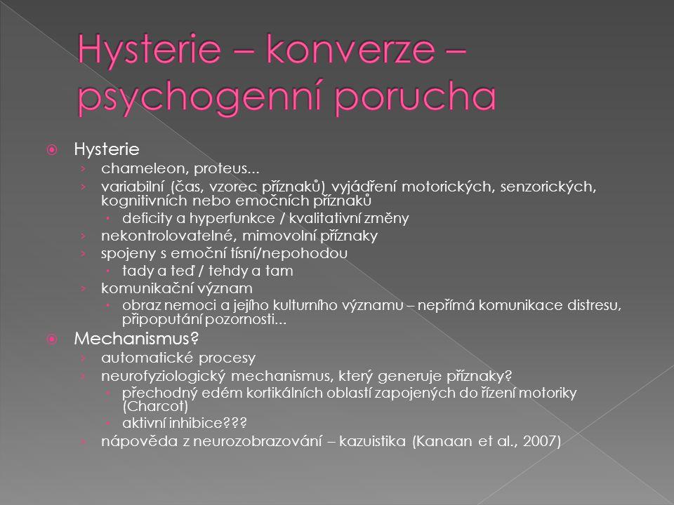  Hysterie › chameleon, proteus... › variabilní (čas, vzorec příznaků) vyjádření motorických, senzorických, kognitivních nebo emočních příznaků  defi