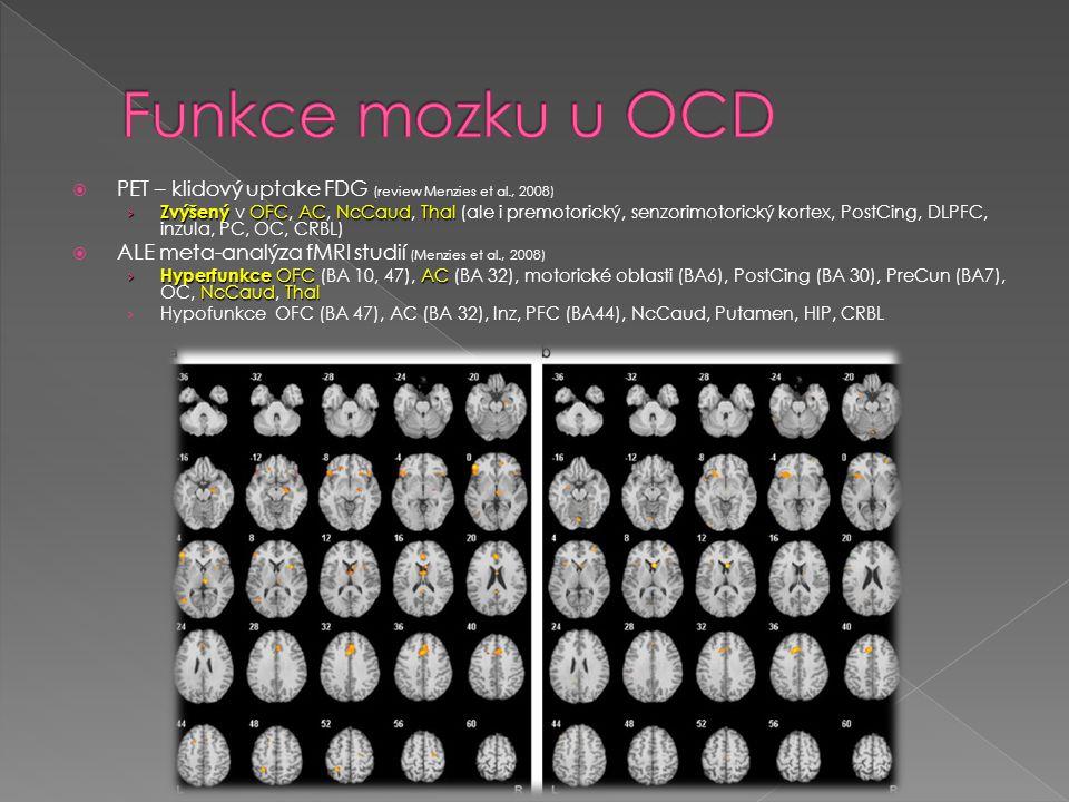 PET – klidový uptake FDG (review Menzies et al., 2008) › Zvýšený OFCACNcCaudThal › Zvýšený v OFC, AC, NcCaud, Thal (ale i premotorický, senzorimotor