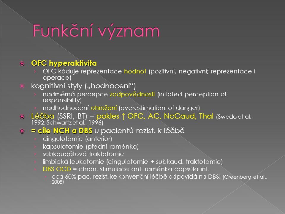 """ OFC hyperaktivita › OFC kóduje reprezentace hodnot (pozitivní, negativní; reprezentace i operace)  kognitivní styly (""""hodnocení"""") › nadměrná percep"""
