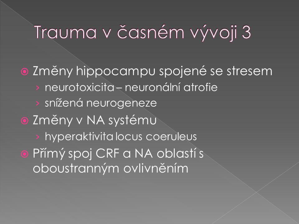  Změny hippocampu spojené se stresem › neurotoxicita – neuronální atrofie › snížená neurogeneze  Změny v NA systému › hyperaktivita locus coeruleus