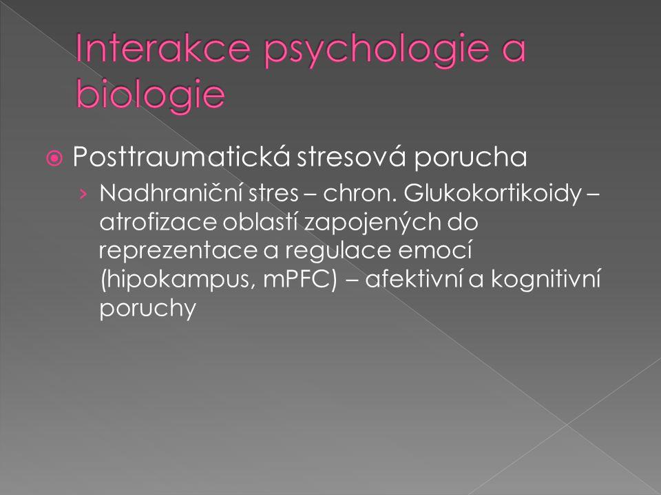  Posttraumatická stresová porucha › Nadhraniční stres – chron. Glukokortikoidy – atrofizace oblastí zapojených do reprezentace a regulace emocí (hipo