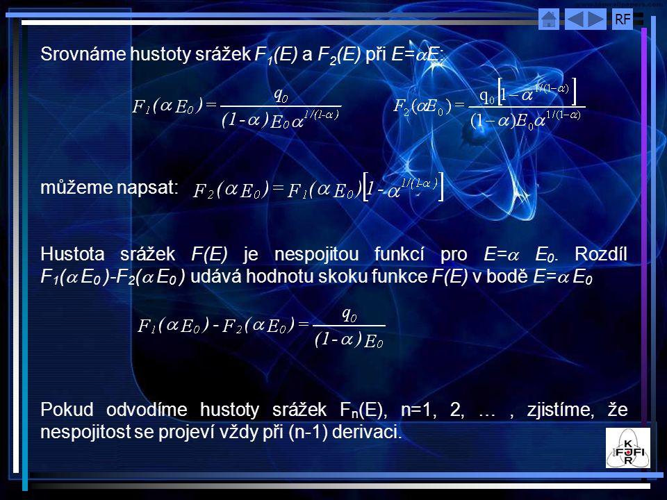 RF Srovnáme hustoty srážek F 1 (E) a F 2 (E) při E=  E: můžeme napsat: Hustota srážek F(E) je nespojitou funkcí pro E=  E 0. Rozdíl F 1 (  E 0 )-F