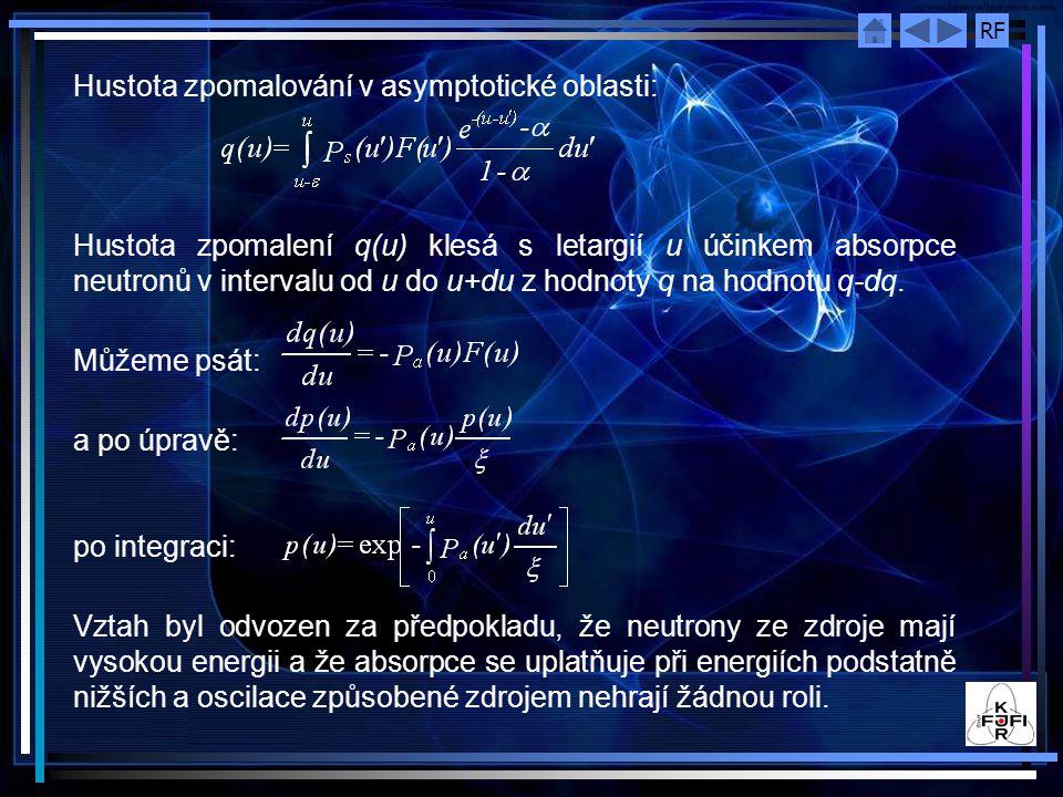 RF Hustota zpomalování v asymptotické oblasti: Hustota zpomalení q(u) klesá s letargií u účinkem absorpce neutronů v intervalu od u do u+du z hodnoty