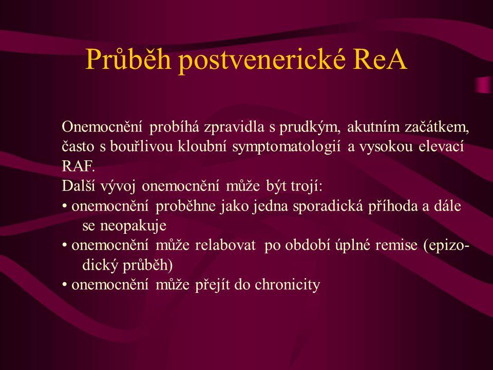 Průběh postvenerické ReA Onemocnění probíhá zpravidla s prudkým, akutním začátkem, často s bouřlivou kloubní symptomatologií a vysokou elevací RAF. Da