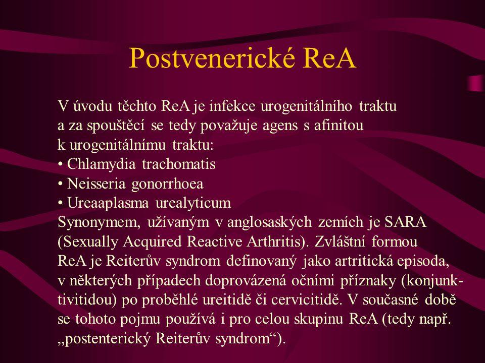 Průběh postvenerické ReA Onemocnění probíhá zpravidla s prudkým, akutním začátkem, často s bouřlivou kloubní symptomatologií a vysokou elevací RAF.