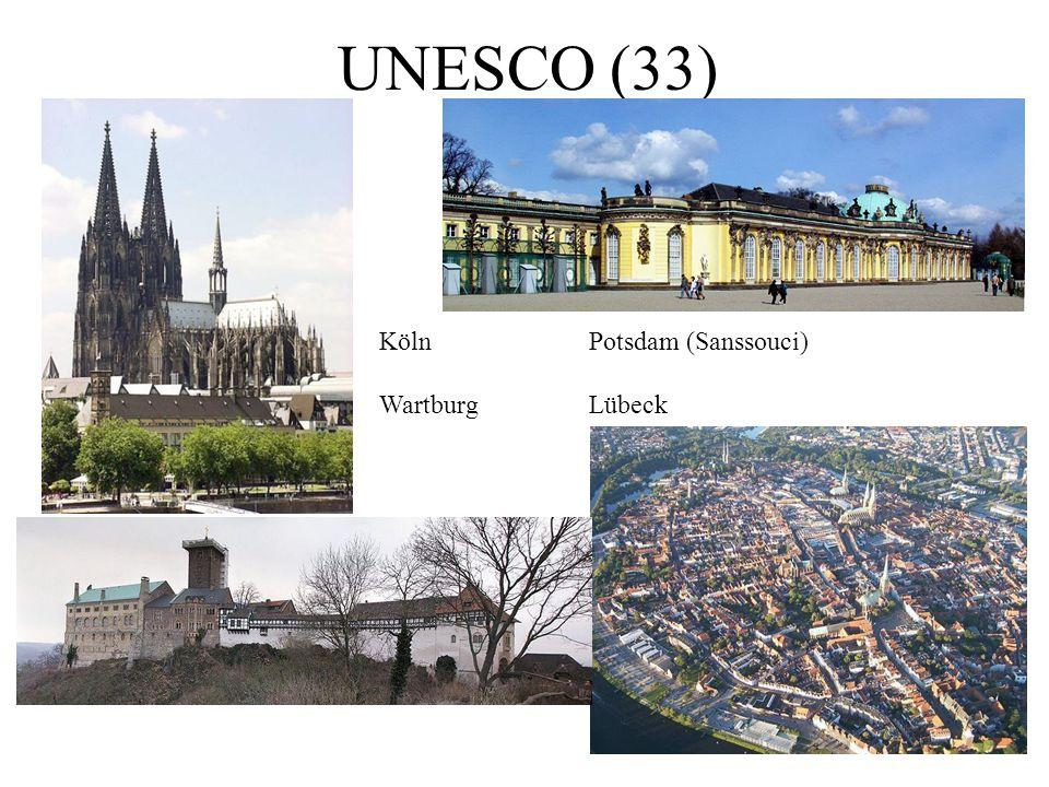 UNESCO (33) KölnPotsdam (Sanssouci) WartburgLübeck