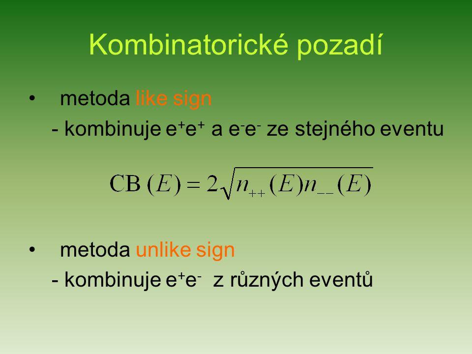 Kombinatorické pozadí metoda like sign - kombinuje e + e + a e - e - ze stejného eventu metoda unlike sign - kombinuje e + e - z různých eventů