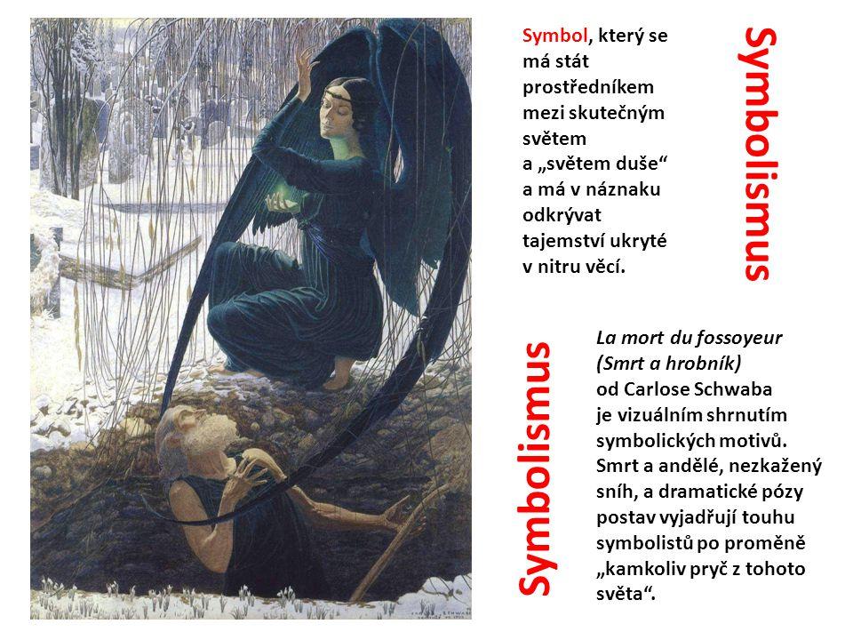 La mort du fossoyeur (Smrt a hrobník) od Carlose Schwaba je vizuálním shrnutím symbolických motivů. Smrt a andělé, nezkažený sníh, a dramatické pózy p