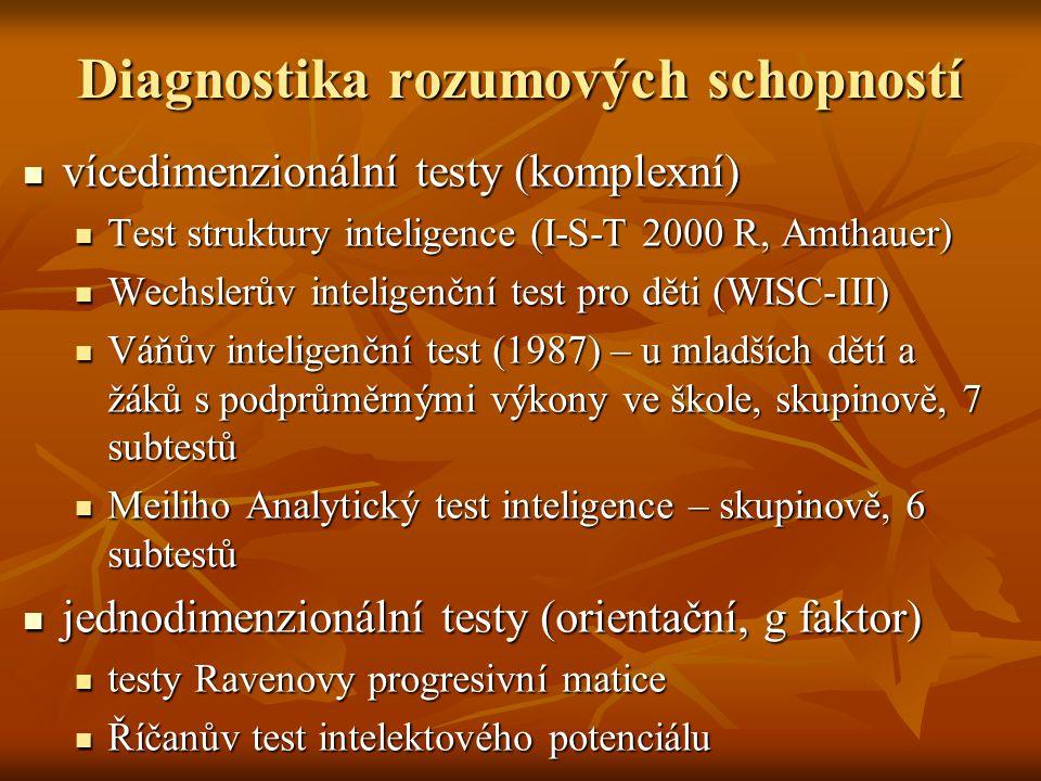 Diagnostika rozumových schopností vícedimenzionální testy (komplexní) vícedimenzionální testy (komplexní) Test struktury inteligence (I-S-T 2000 R, Am