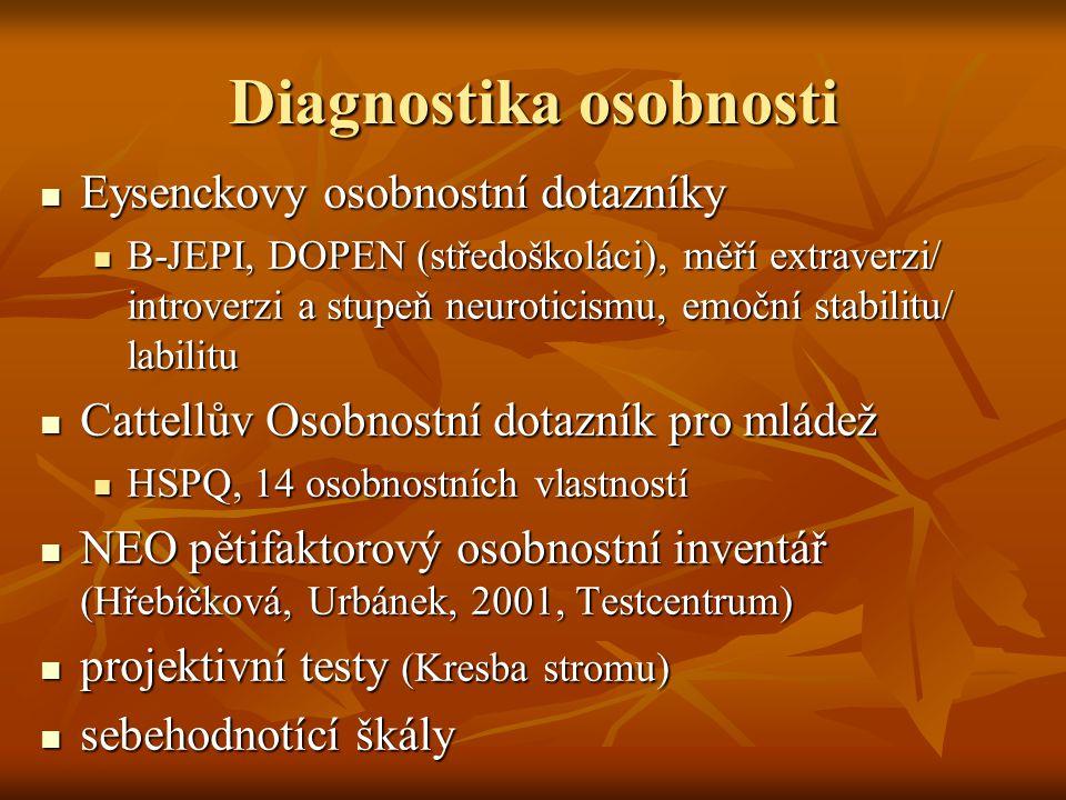Diagnostika osobnosti Eysenckovy osobnostní dotazníky Eysenckovy osobnostní dotazníky B-JEPI, DOPEN (středoškoláci), měří extraverzi/ introverzi a stu