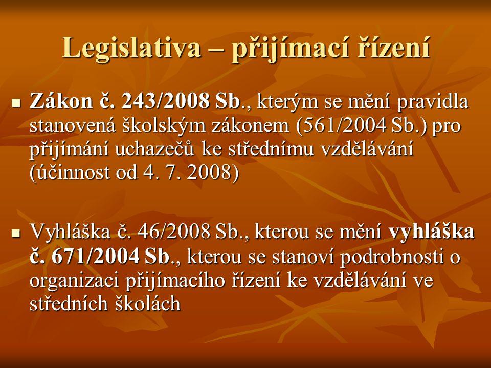 Legislativa – přijímací řízení Zákon č. 243/2008 Sb., kterým se mění pravidla stanovená školským zákonem (561/2004 Sb.) pro přijímání uchazečů ke stře