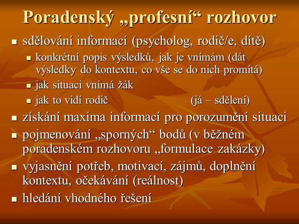"""Poradenský """"profesní"""" rozhovor sdělování informací (psycholog, rodič/e, dítě) sdělování informací (psycholog, rodič/e, dítě) konkrétní popis výsledků,"""