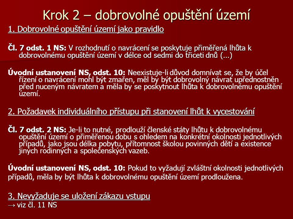 Krok 2 – dobrovolné opuštění území 1. Dobrovolné opuštění území jako pravidlo Čl. 7 odst. 1 NS: V rozhodnutí o navrácení se poskytuje přiměřená lhůta