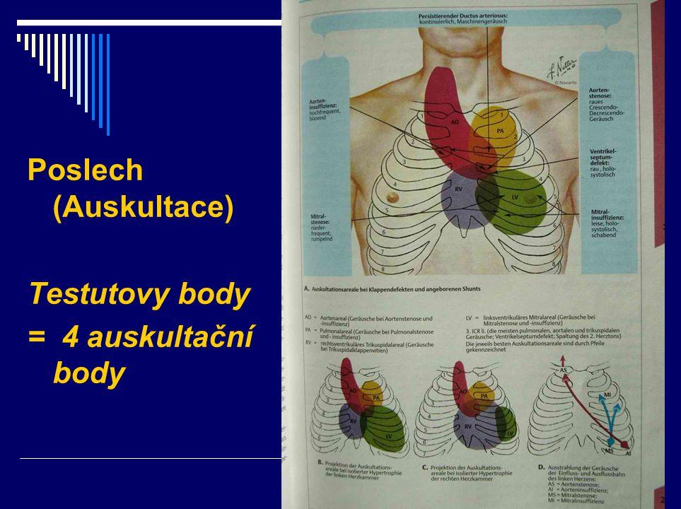 Poslech (Auskultace) Testutovy body = 4 auskultační body