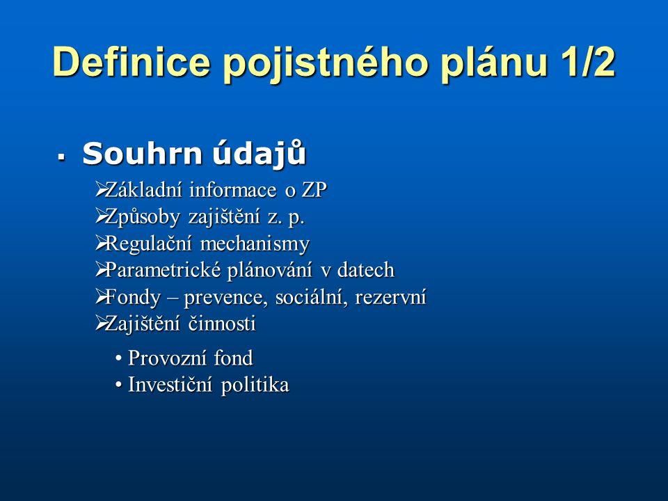 Definice pojistného plánu 1/2  Souhrn údajů  Základní informace o ZP  Způsoby zajištění z.