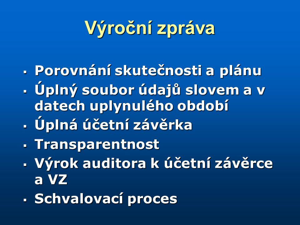 Výroční zpráva  Porovnání skutečnosti a plánu  Úplný soubor údajů slovem a v datech uplynulého období  Úplná účetní závěrka  Transparentnost  Výrok auditora k účetní závěrce a VZ  Schvalovací proces