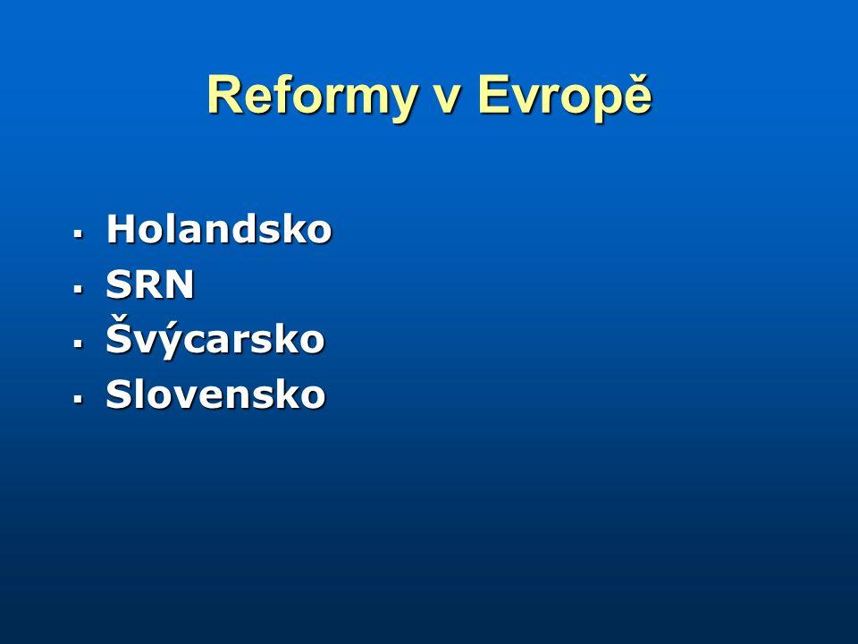 Reformy v Evropě  Holandsko  SRN  Švýcarsko  Slovensko