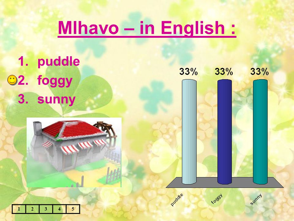 Mlhavo – in English : 12345 1.puddle 2.foggy 3.sunny