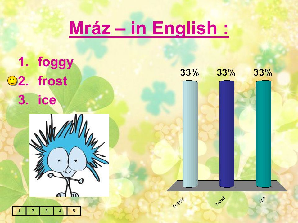 Mráz – in English : 12345 1.foggy 2.frost 3.ice