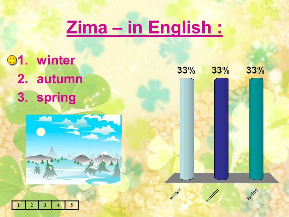 Zima – in English : 12345 1.winter 2.autumn 3.spring
