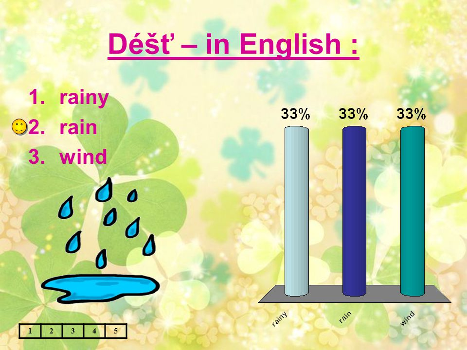Déšť – in English : 12345 1.rainy 2.rain 3.wind
