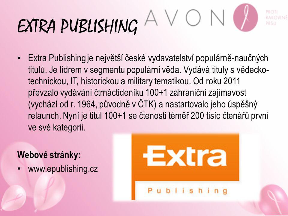 EXTRA PUBLISHING Extra Publishing je největší české vydavatelství populárně-naučných titulů. Je lídrem v segmentu populární věda. Vydává tituly s věde