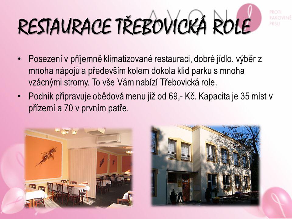 RESTAURACE TŘEBOVICKÁ ROLE Posezení v příjemně klimatizované restauraci, dobré jídlo, výběr z mnoha nápojů a především kolem dokola klid parku s mnoha