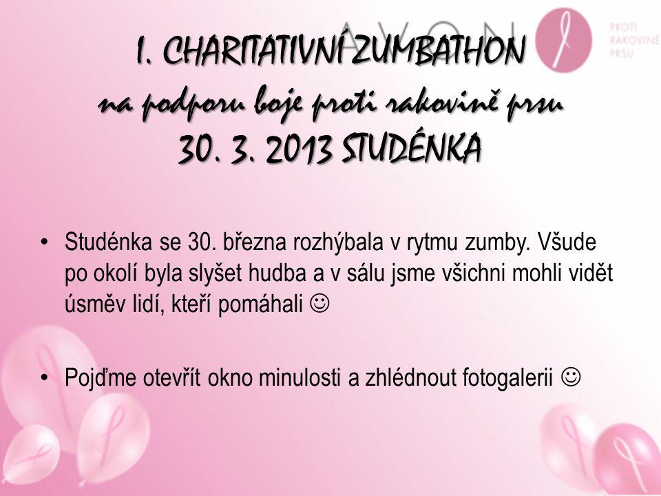 I. CHARITATIVNÍ ZUMBATHON na podporu boje proti rakovině prsu 30. 3. 2013 STUDÉNKA Studénka se 30. března rozhýbala v rytmu zumby. Všude po okolí byla