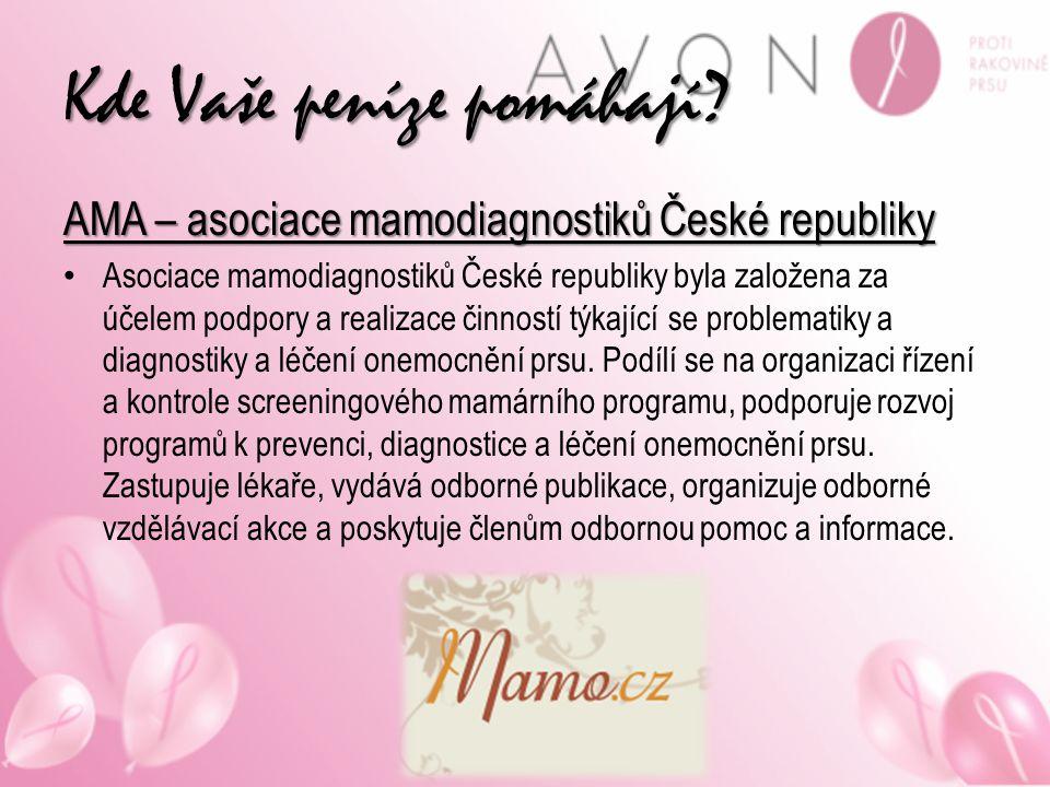 Kde Vaše peníze pomáhají? AMA – asociace mamodiagnostiků České republiky Asociace mamodiagnostiků České republiky byla založena za účelem podpory a re