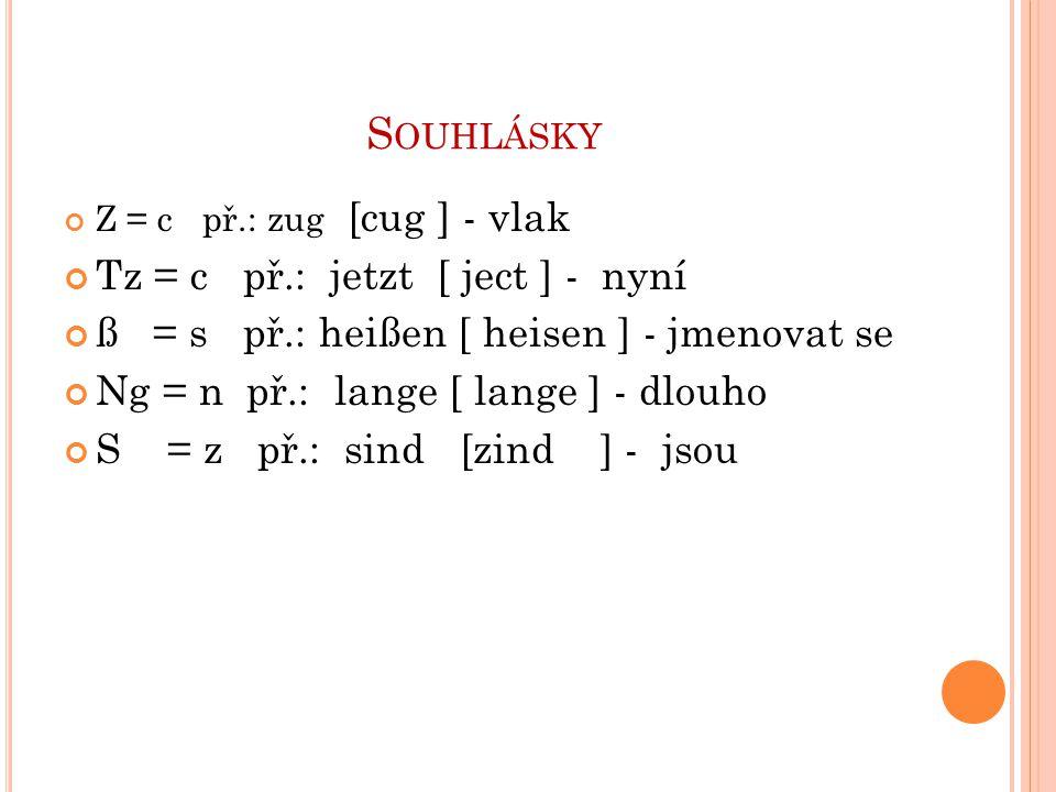 S OUHLÁSKY Z = c př.: zug [cug ] - vlak Tz = c př.: jetzt [ ject ] - nyní ß = s př.: heißen [ heisen ] - jmenovat se Ng = n př.: lange [ lange ] - dlouho S = z př.: sind [zind ] - jsou