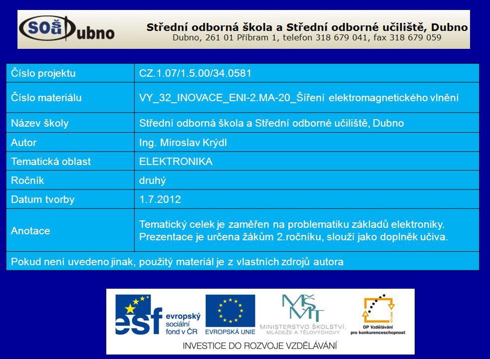 Číslo projektuCZ.1.07/1.5.00/34.0581 Číslo materiáluVY_32_INOVACE_ENI-2.MA-20_Šíření elektromagnetického vlnění Název školyStřední odborná škola a Střední odborné učiliště, Dubno AutorIng.