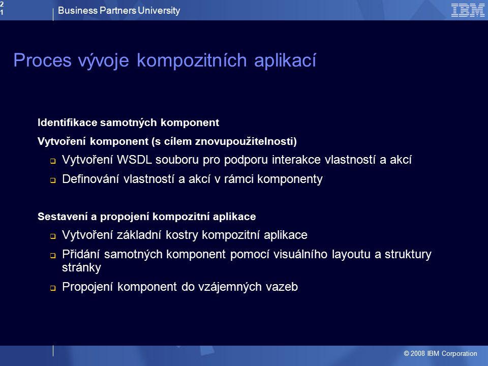 Business Partners University © 2008 IBM Corporation21 Proces vývoje kompozitních aplikací Identifikace samotných komponent Vytvoření komponent (s cíle