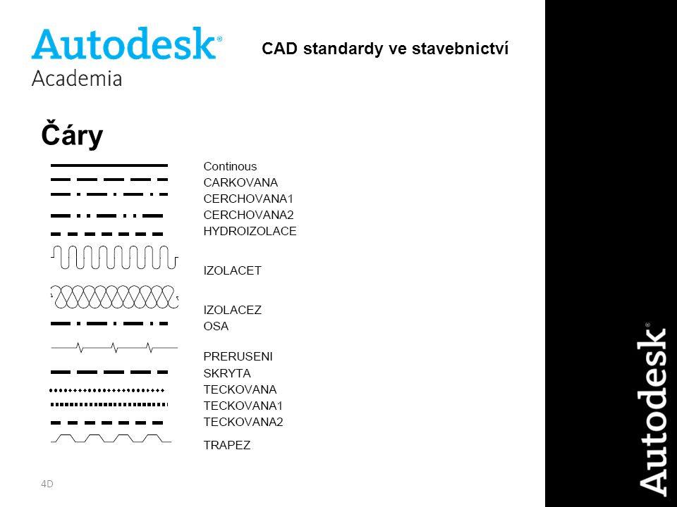 4D Čáry CAD standardy ve stavebnictví