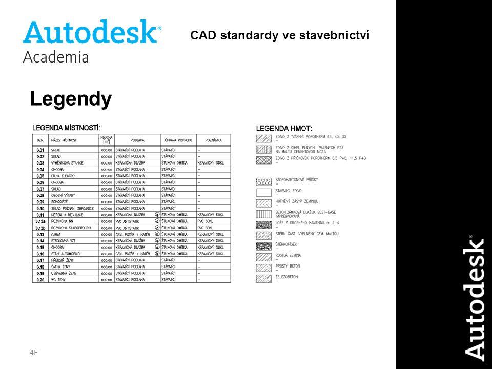 4F Legendy CAD standardy ve stavebnictví