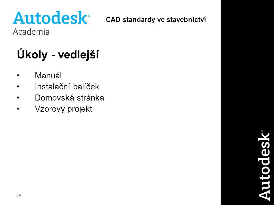2B Úkoly - vedlejší Manuál Instalační balíček Domovská stránka Vzorový projekt CAD standardy ve stavebnictví