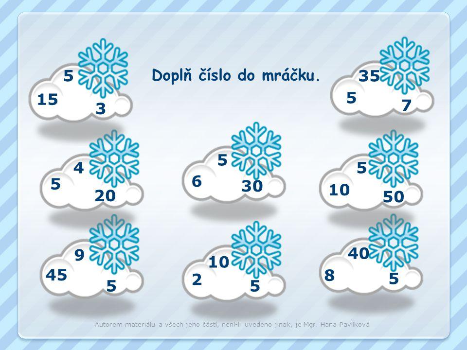 0 5 10 15 20 25 30 35 40 45 50 15 : 5 = 3 20 : 5 = 4 25 : 5 = 5 30 : 5 = 6 35 : 5 = 7 40 : 5 = 8 45 : 5 = 9 50 : 5 = 10 Autorem materiálu a všech jeho