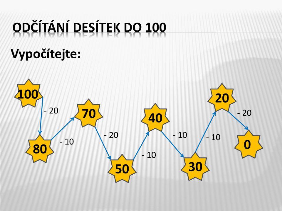 Vypočítejte: 100 - 20 - 10 - 20 - 10 - 20 80 70 50 40 30 20 0