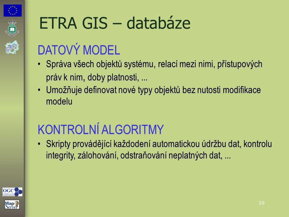 10 ETRA GIS – databáze DATOVÝ MODEL Správa všech objektů systému, relací mezi nimi, přístupových práv k nim, doby platnosti,...Správa všech objektů sy