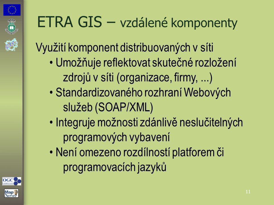 11 ETRA GIS – vzdálené komponenty Využití komponent distribuovaných v síti Umožňuje reflektovat skutečné rozložení zdrojů v síti (organizace, firmy,..