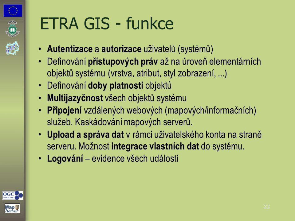22 ETRA GIS - funkce Autentizace a autorizace uživatelů (systémů) Autentizace a autorizace uživatelů (systémů) Definování přístupových práv až na úrov