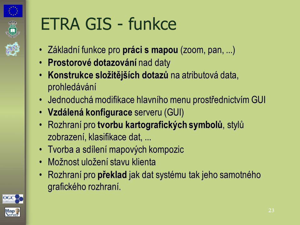 23 ETRA GIS - funkce Základní funkce pro práci s mapou (zoom, pan,...)Základní funkce pro práci s mapou (zoom, pan,...) Prostorové dotazování nad daty