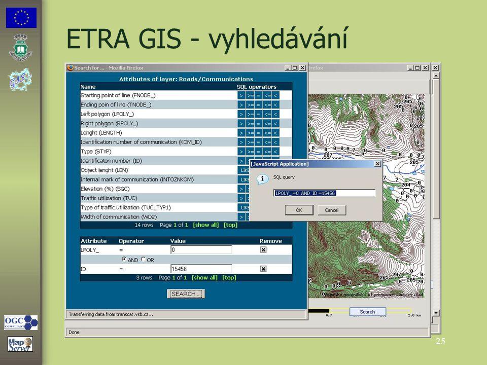 25 ETRA GIS - vyhledávání