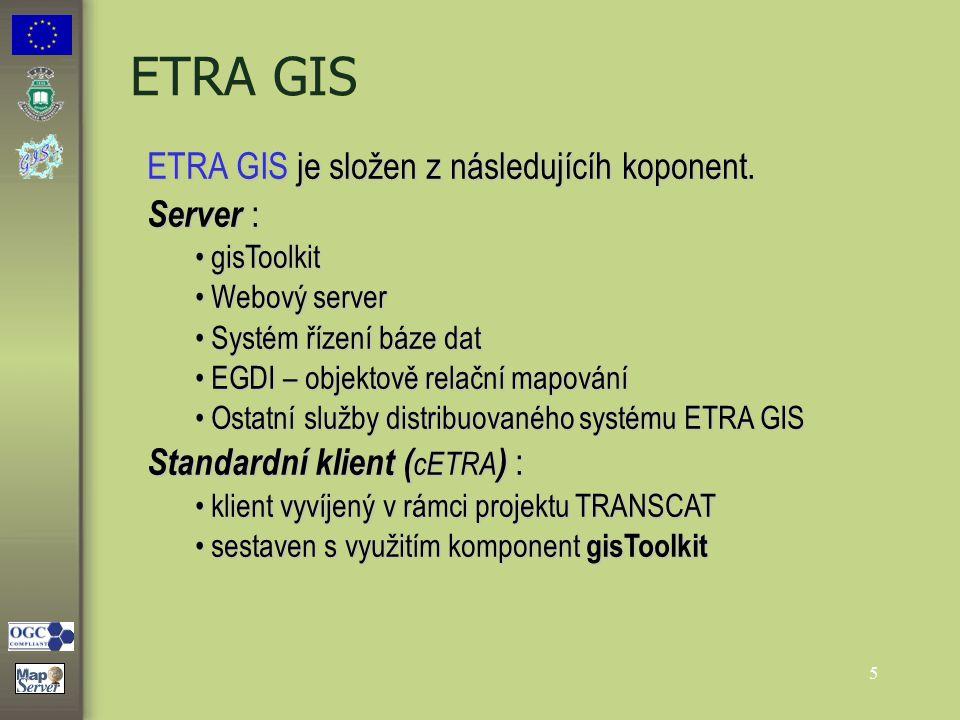 5 ETRA GIS ETRA GIS je složen z následujícíh koponent. Server : gisToolkit gisToolkit Webový server Webový server Systém řízení báze dat Systém řízení