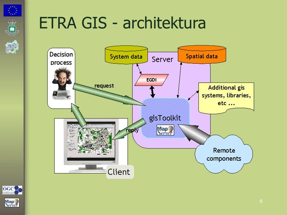 7 gisToolkit a MNU Mapserver Sada tříd využívajících knihovny mapscript firmy DM Solutions gisToolkit zásadně rozšiřuje možnosti MNU Mapserver : definice nových vlastností mapových prvků definice nových vlastností mapových prvků dynamické generování částí mapové kompozice (mapa, legenda, měřítko,...) dynamické generování částí mapové kompozice (mapa, legenda, měřítko,...) přináší nové typy objektů: uživatel, skupina, kompozice,...