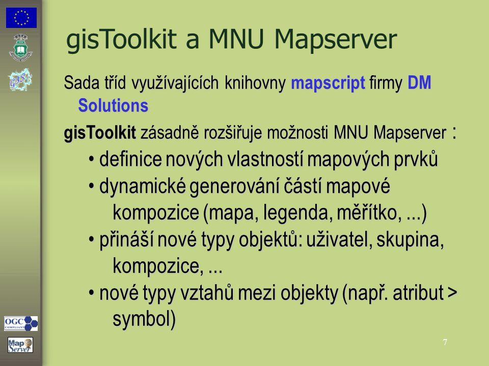 7 gisToolkit a MNU Mapserver Sada tříd využívajících knihovny mapscript firmy DM Solutions gisToolkit zásadně rozšiřuje možnosti MNU Mapserver : defin