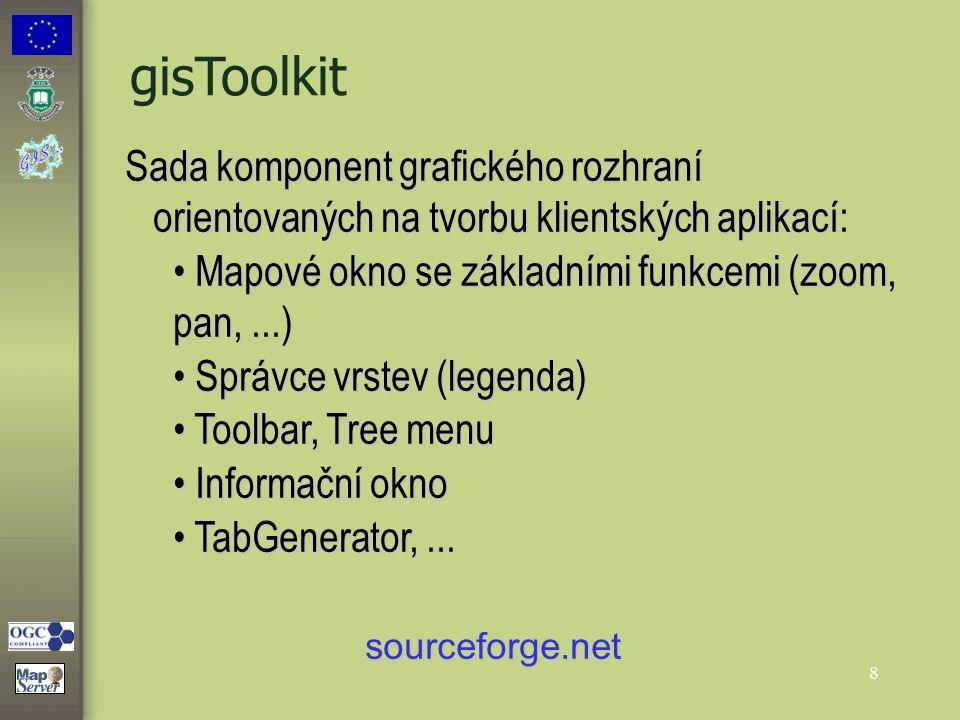 8 gisToolkit Sada komponent grafického rozhraní orientovaných na tvorbu klientských aplikací: Mapové okno se základními funkcemi (zoom, pan,...) Mapov